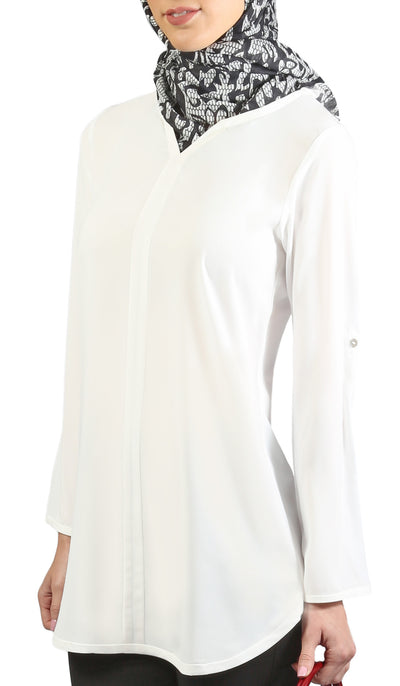 Hena Long Modest Everyday Tunic - Off White