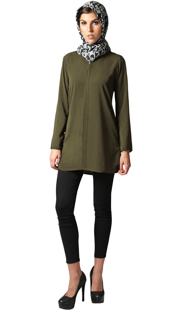 Hena Long Modest Everyday Tunic - Olive Green