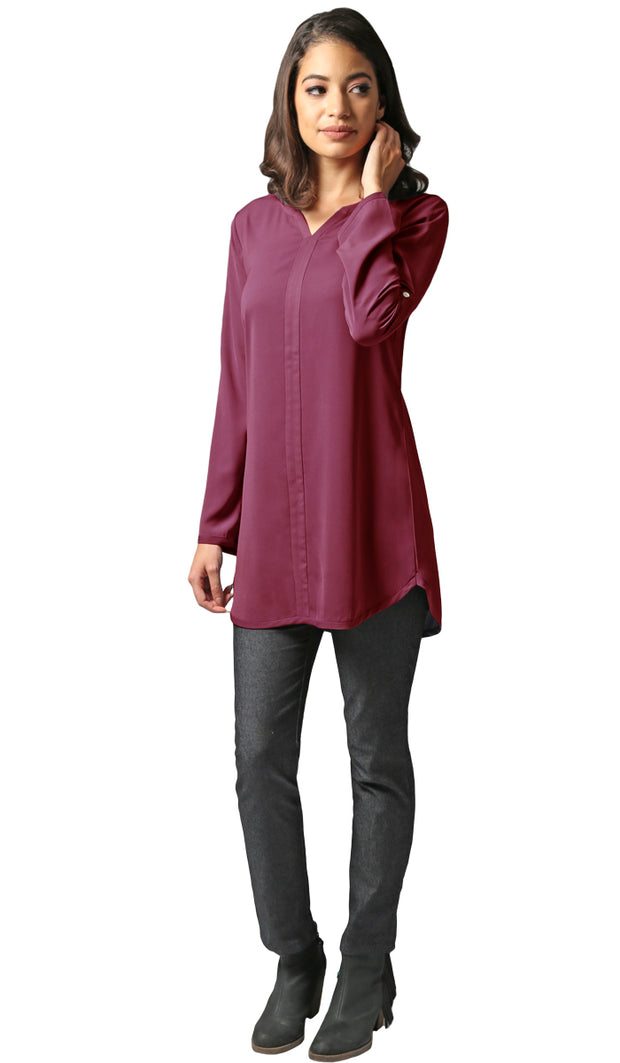 Hena Long Modest Everyday Tunic - Purple Orchid