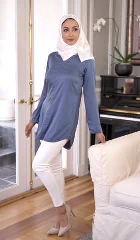 Hena Silky Formal Long Modest Tunic - Blue Shadow