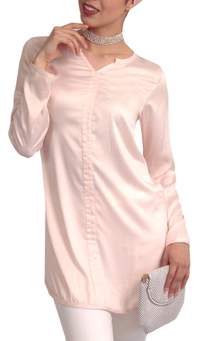 Hena Silky Formal Long Modest Tunic - Blush