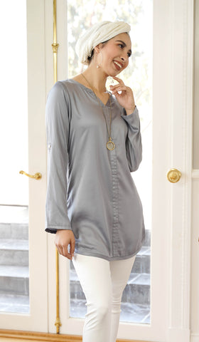 Hena Silky Formal Long Modest Tunic - Gray Pearl