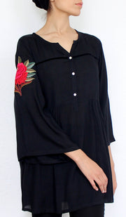 Herda Embroidered Cotton Modest Buttondown Tunic - Black