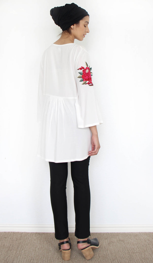 Herda Embroidered Cotton Modest Buttondown Tunic - White