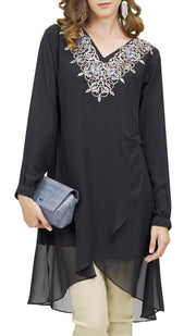 Hodan Embroidered Formal Long Modest Tunic - Black