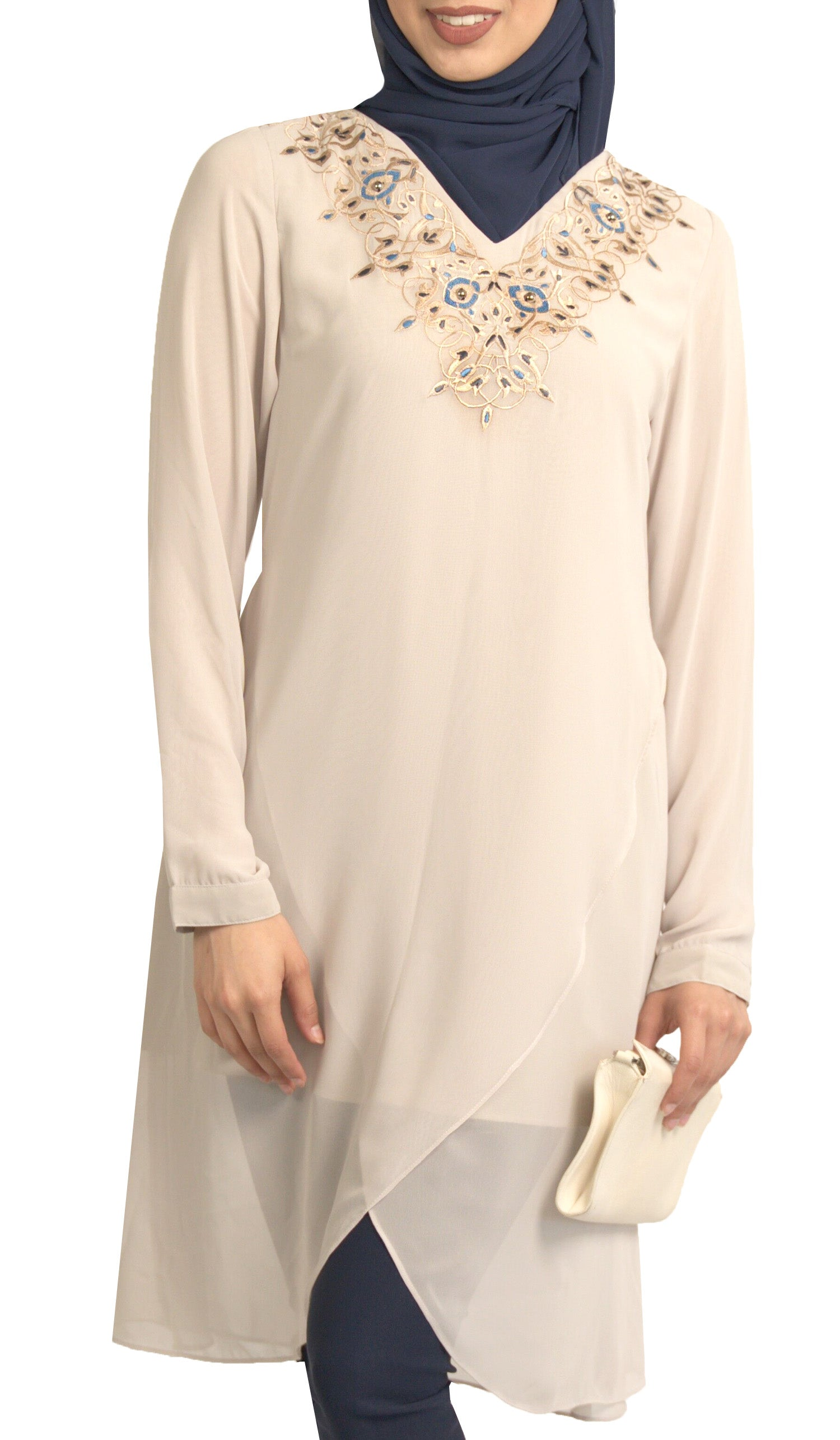 Hodan Embroidered Formal Long Modest Tunic - Taupe