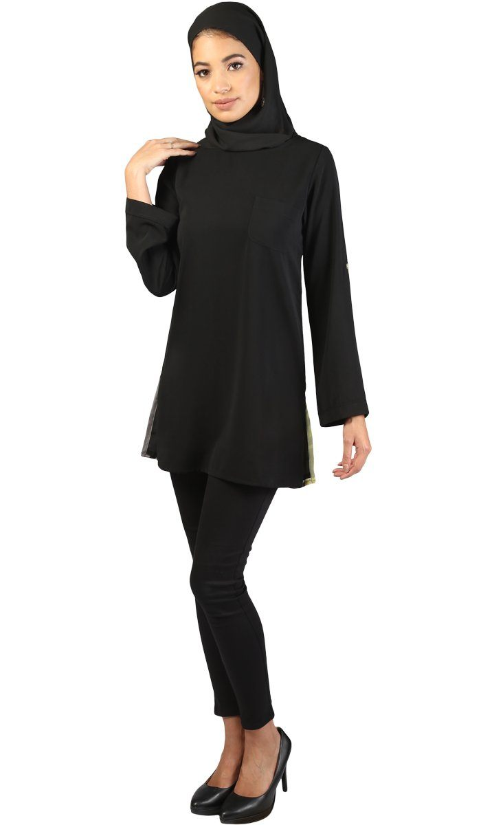 Huma Long Printed Back Stylish Modest Tunic - Black