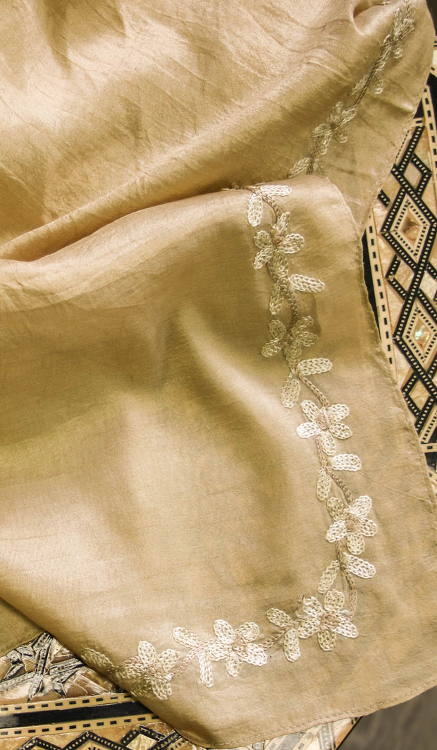 Arwa Hand Embroidered Silk Wrap Hijab Scarf - Gold - ARTIZARA.COM