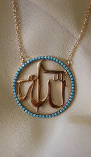 Goldplated Sterling Silver & Turquoise Allah Necklace
