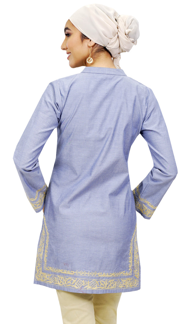 Ilham Long Embroidered Modest Denim Tunic - Blue