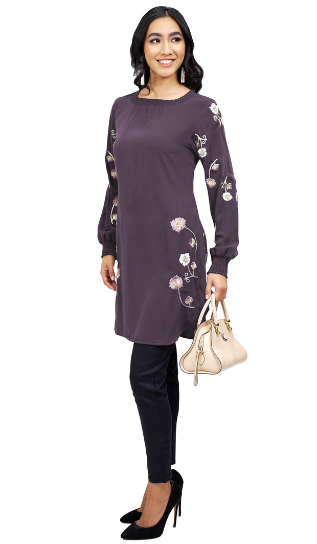 Iman Embroidered Formal Long Modest Tunic - Midnight Lavender