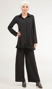 Inaya Flowy Long Modest Buttondown Shirt - Black