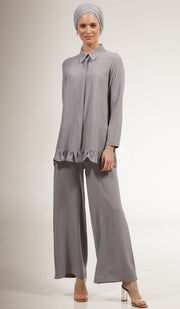 Inaya Loose and Flowy Stretch Wide Leg Pants - Gray Pearl