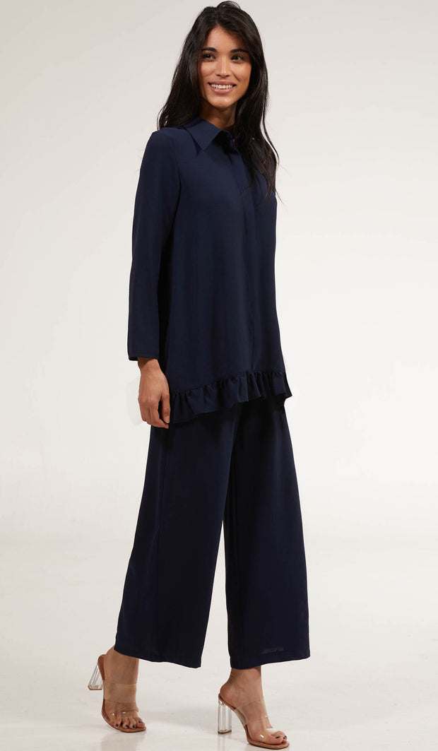 Inaya Flowy Long Modest Buttondown Shirt - Navy Blue
