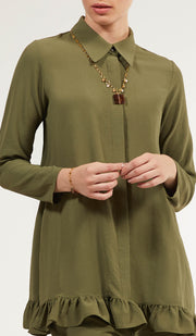 Inaya Flowy Long Modest Buttondown Shirt - Olive