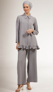 Inaya Flowy Long Modest Buttondown Shirt - Gray Pearl