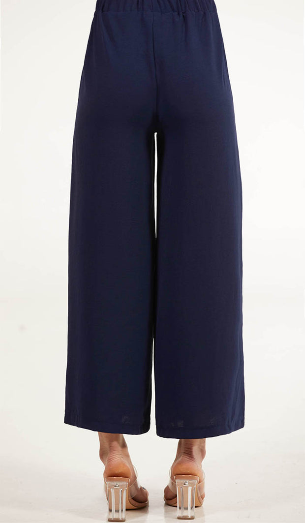 Inaya Loose and Flowy Stretch Wide Leg Pants - Navy Blue