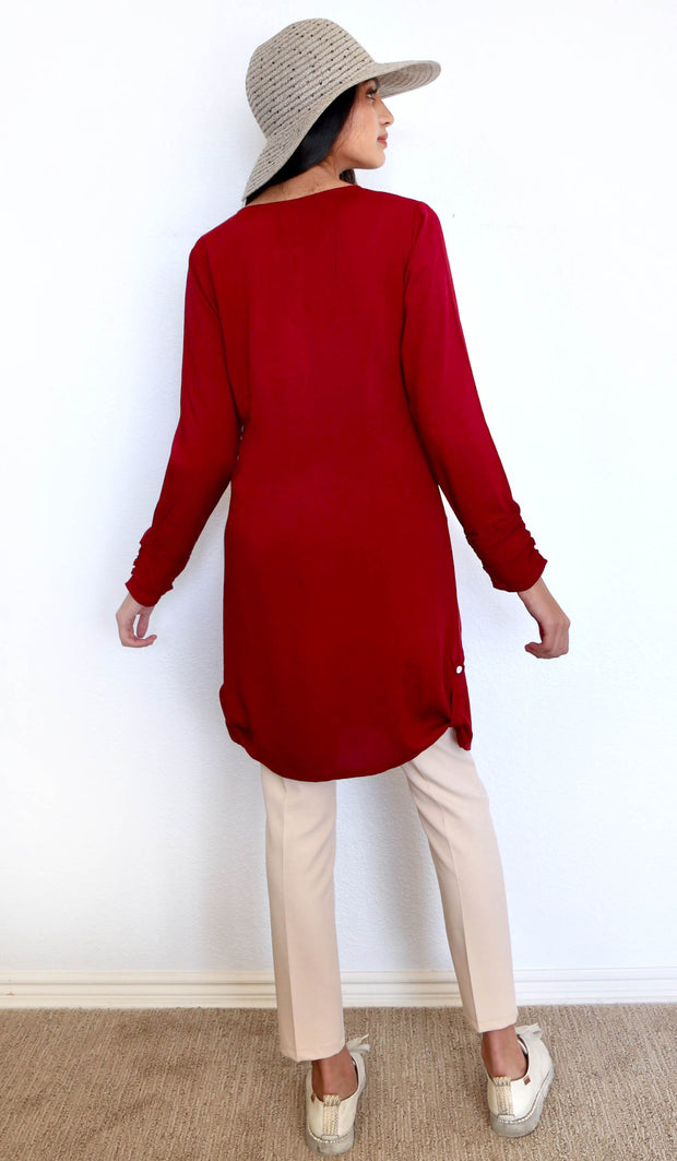 Iqra Embroidered Modest Buttondown Tunic - Maroon