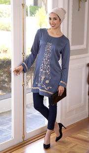 Isabel Silky Formal Long Modest Embroidered Long Tunic - Blue Shadow