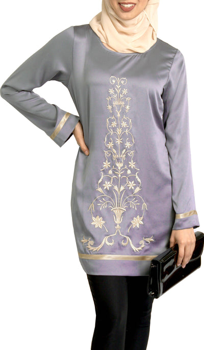 Isabel Silky Formal Long Modest Embroidered Long Tunic - Gray Pearl