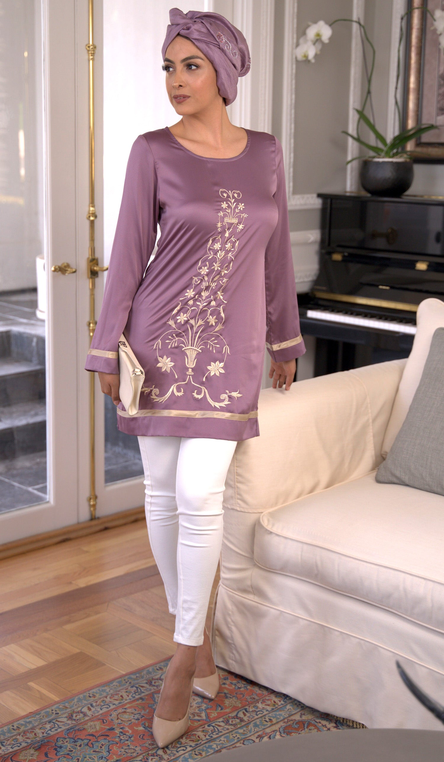 Isabel Silky Formal Long Modest Embroidered Long Tunic - Lavender