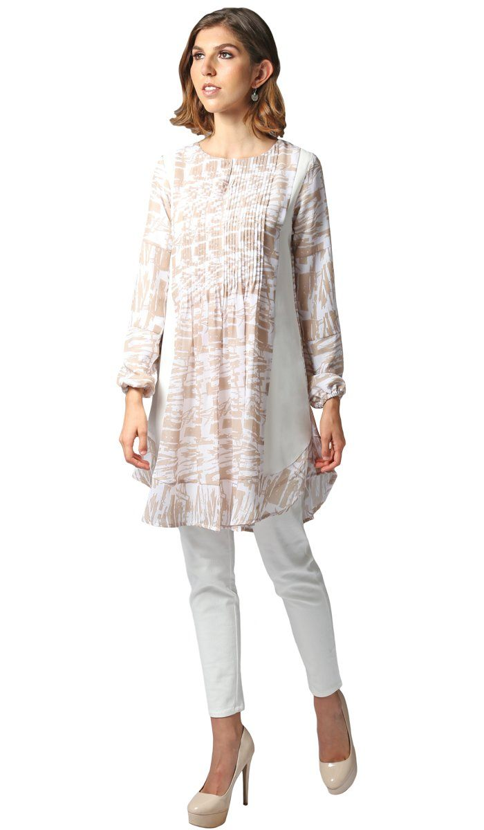 Ismet Print Chiffon Modest Long Tunic Dress - Beige and White
