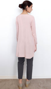Iza Embroidered Modest Tunic - Blush Pink