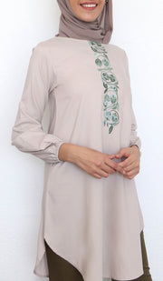 Iza Embroidered Modest Tunic - Latte