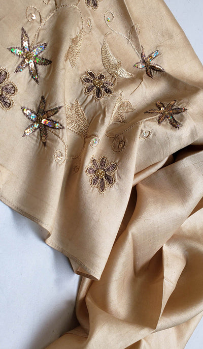 Iza Hand Embroidered Silk Wrap Hijab Scarf - Gold