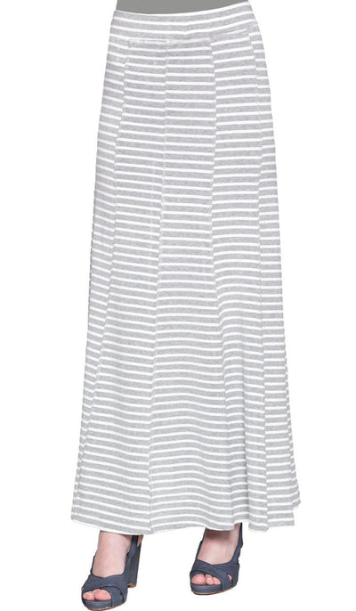 Julianne Stretch Flared Maxi Skirt - Gray and White - ARTIZARA.COM