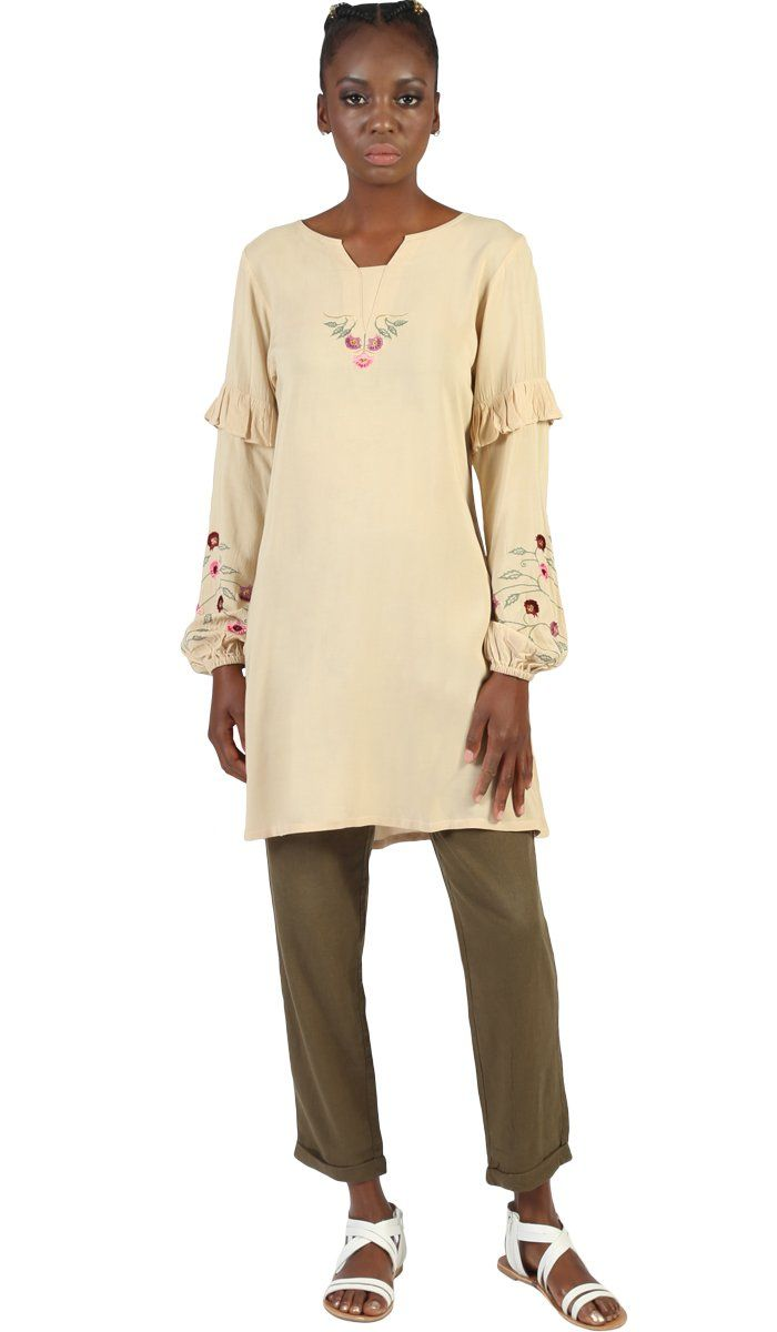 Jana Long Embroidered Sleeve Tunic - Beige