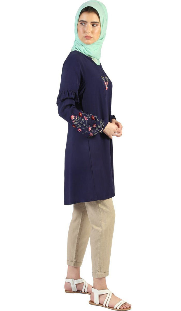 Jana Long Embroidered Sleeve Tunic - Navy Blue