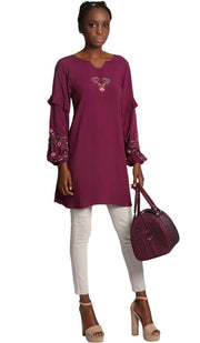 Jana Long Embroidered Sleeve Tunic - Purple