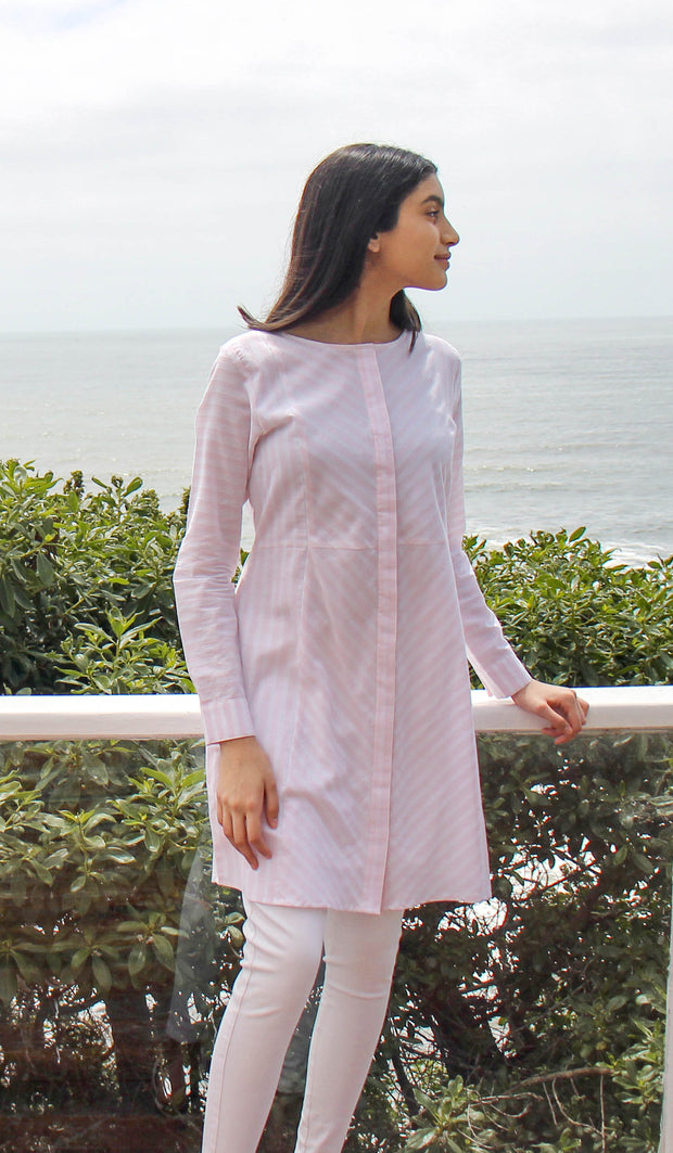 Janine Long Light Cotton Modest Tunic - Blush