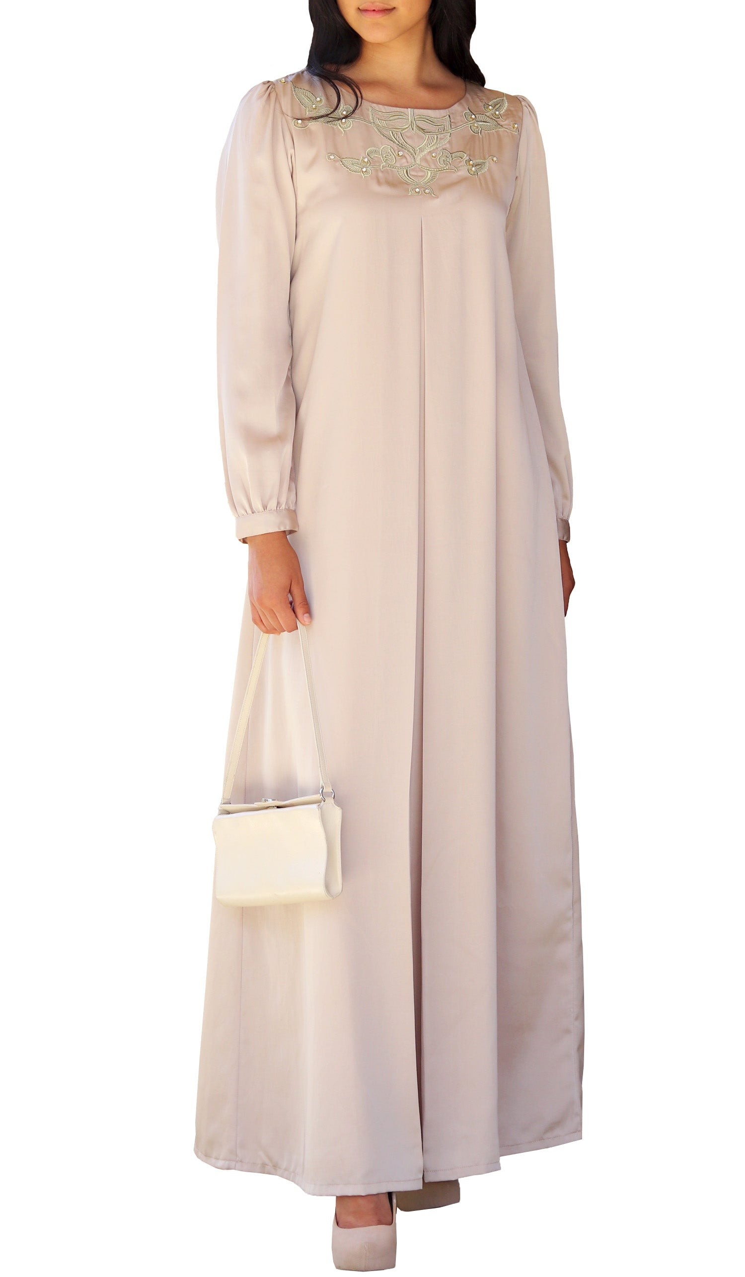 Jasmin Embroidered Formal Long Sleeve Modest Evening Dress - Beige Gold