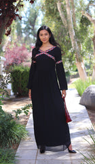 Kiran Embroidered Modest Maxi Abaya Dress - Black