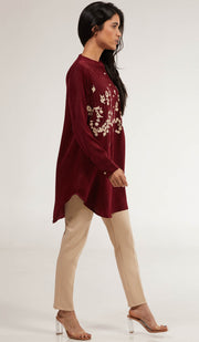 Kamila Embroidered Long Modest Tunic - Maroon