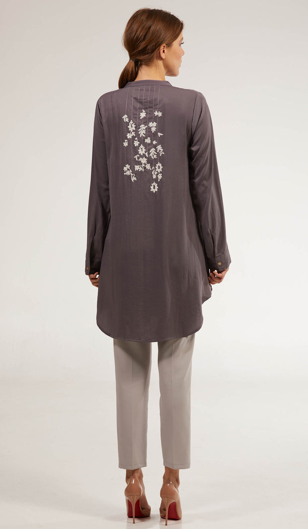 Kamila Embroidered Long Modest Tunic - Smoke
