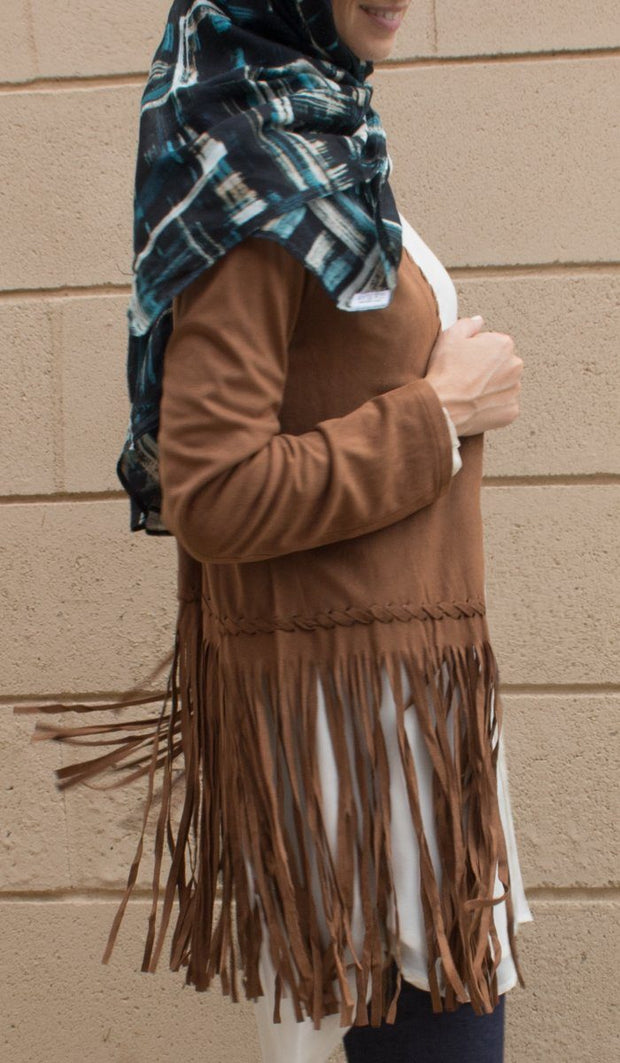 Karin Faux Suede Light Long Fringed Jacket - Brown