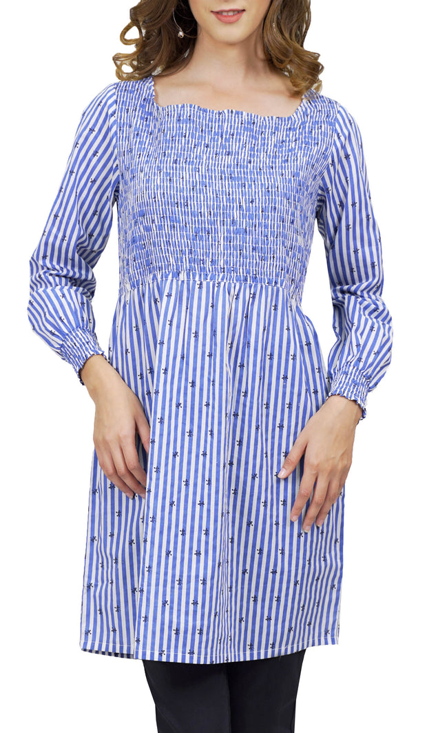 Kayra Long Stripe Cotton Tunic Dress