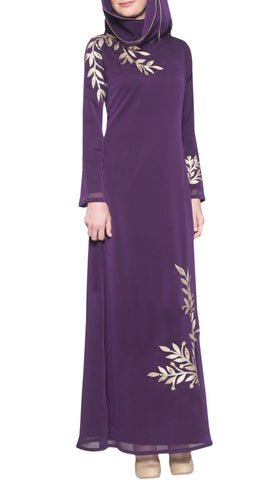 Kendall Long Sleeve Modest Muslim Formal Evening Dress - Purple