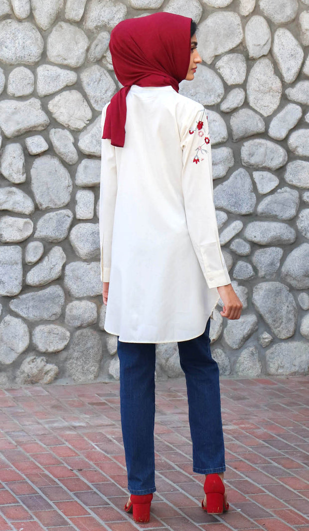 Kinza Embroidered Mostly Cotton Modest Tunic - Cream