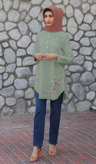 Kinza Embroidered Mostly Cotton Modest Tunic - Sage - PREORDER
