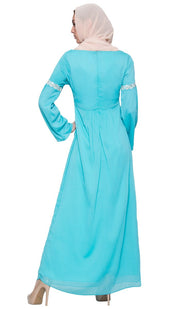 Kiran Embroidered Modest Abaya Maxi Dress - Aqua Blue