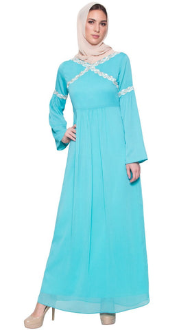 Kiran Embroidered Modest Maxi Dress Abaya - Aqua Blue