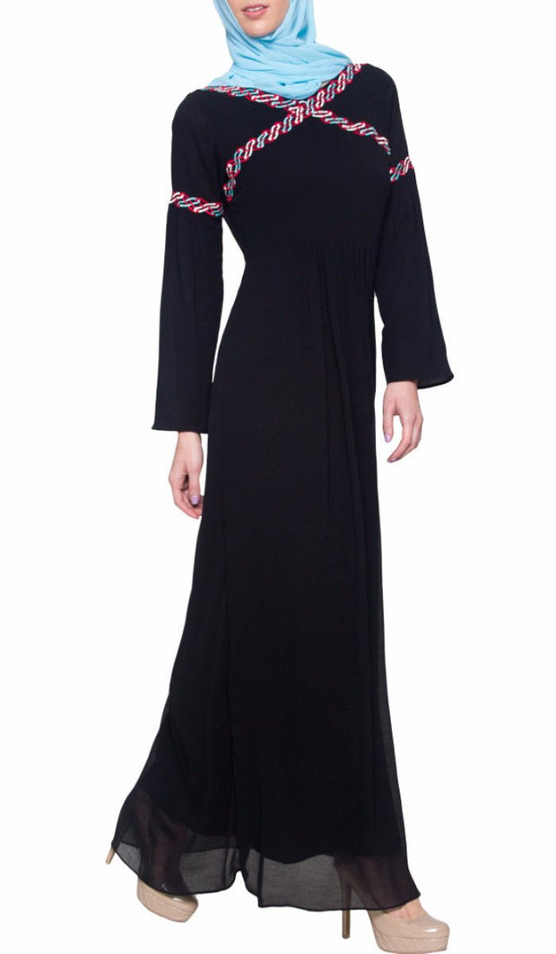 Kiran Embroidered Modest Abaya Maxi Dress - Black