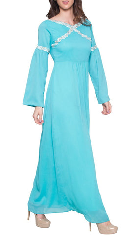 Kiran Embroidered Modest Maxi Dress Abaya - Aqua Blue Detail