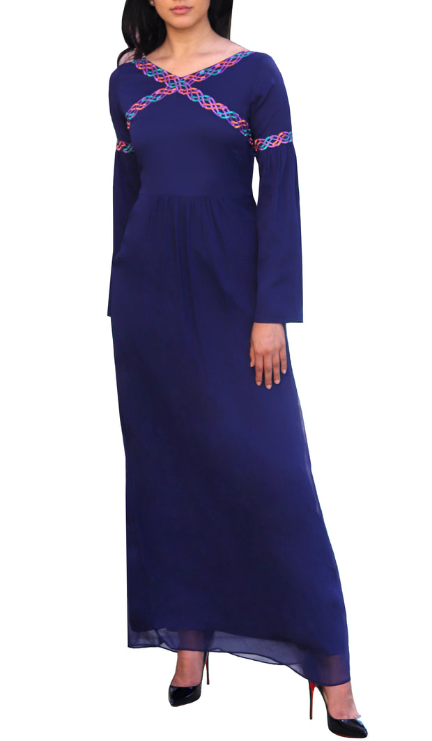 Kiran Embroidered Modest Abaya Maxi Dress - Navy Blue