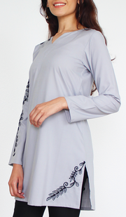 Kismet Mostly Cotton Embroidered Modest Tunic - Gray