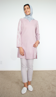 Kismet Mostly Cotton Embroidered Modest Tunic - Lilac